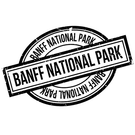 Banff National Park rubber stamp. Grunge design with dust scratches. Effects can be easily removed for a clean, crisp look. Color is easily changed.