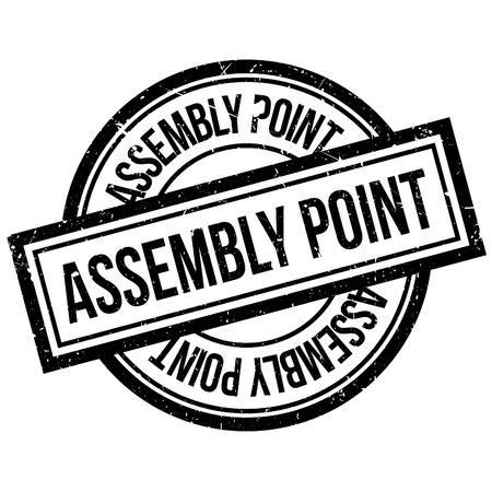 assembly point: Assembly Point rubber stamp. Grunge design with dust scratches. Effects can be easily removed for a clean, crisp look. Color is easily changed. Illustration