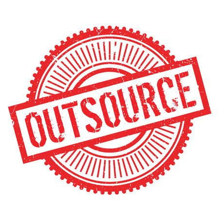 Outsource stamp. Grunge design with dust scratches. Effects can be easily removed for a clean, crisp look. Color is easily changed. Illustration
