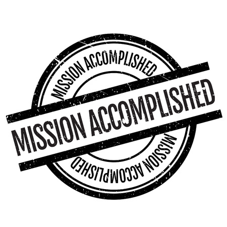concluded: Mission accomplished stamp. Grunge design with dust scratches. Effects can be easily removed for a clean, crisp look. Color is easily changed.