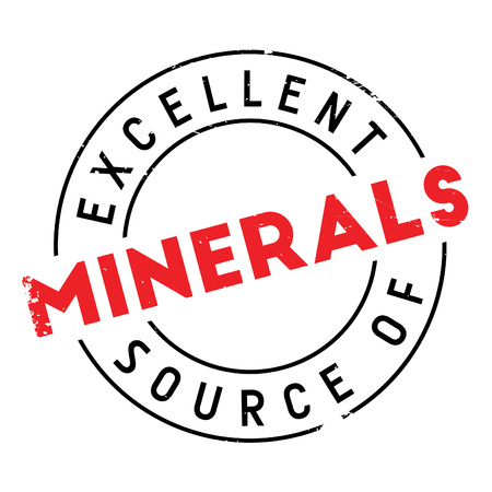 advertize: Excellent source of minerals stamp. Grunge design with dust scratches. Effects can be easily removed for a clean, crisp look. Color is easily changed. Illustration