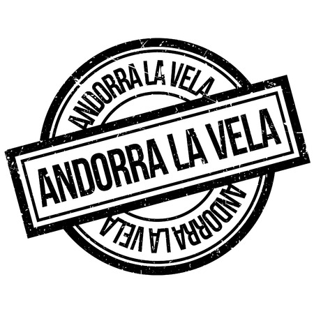 Andorra La Vela rubber stamp. Grunge design with dust scratches. Effects can be easily removed for a clean, crisp look. Color is easily changed.