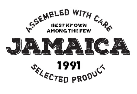 Assembled in Jamaica rubber stamp. Grunge design with dust scratches. Effects can be easily removed for a clean, crisp look. Color is easily changed.