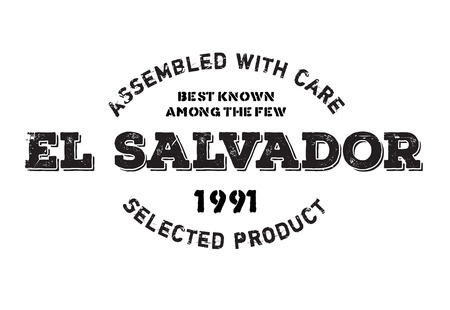 Assembled in El Salvador rubber stamp. Grunge design with dust scratches. Effects can be easily removed for a clean, crisp look. Color is easily changed.