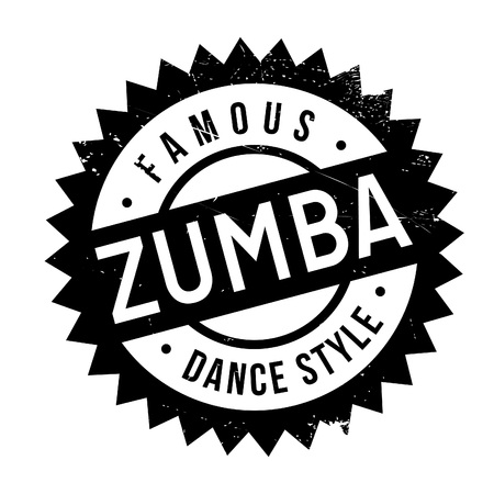 Famous dance style, zumba stamp. Grunge design with dust scratches. Effects can be easily removed for a clean, crisp look. Color is easily changed.