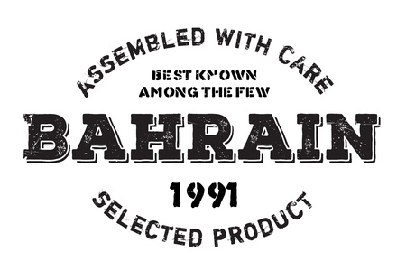 Assembled in Bahrain rubber stamp. Grunge design with dust scratches. Effects can be easily removed for a clean, crisp look. Color is easily changed.
