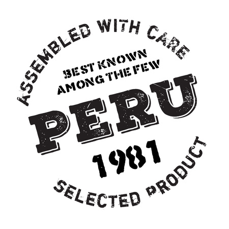 Assembled in Peru rubber stamp. Grunge design with dust scratches. Effects can be easily removed for a clean, crisp look. Color is easily changed.