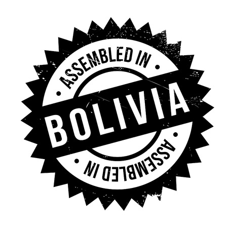 Assembled in Bolivia rubber stamp. Grunge design with dust scratches. Effects can be easily removed for a clean, crisp look. Color is easily changed. Illustration
