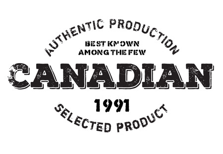 Authentic canadian product stamp. Grunge design with dust scratches. Effects can be easily removed for a clean, crisp look. Color is easily changed. Illustration