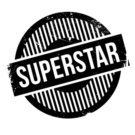 luminary: Superstar rubber stamp. Grunge design with dust scratches. Effects can be easily removed for a clean, crisp look. Color is easily changed. Illustration