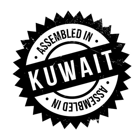 Assembled in Kuwait rubber stamp. Grunge design with dust scratches. Effects can be easily removed for a clean, crisp look. Color is easily changed. Illustration