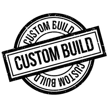Timbro di gomma Custom Build. Design grunge con graffi di polvere. Gli effetti possono essere facilmente rimossi per un look pulito e nitido. Il colore è facilmente modificabile