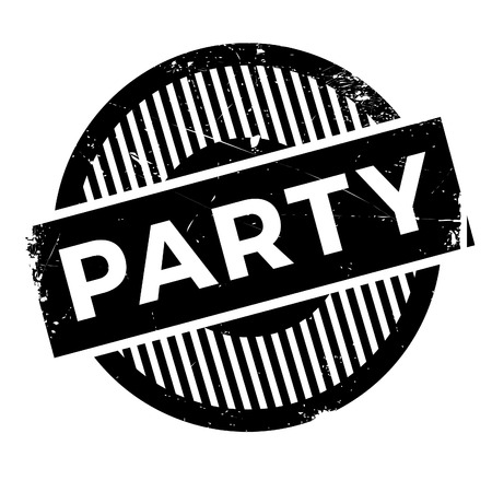 Party rubber stamp. Grunge design with dust scratches. Effects can be easily removed for a clean, crisp look. Color is easily changed.