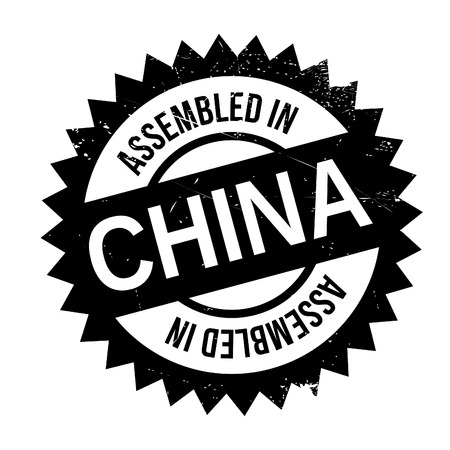 Assembled in China rubber stamp. Grunge design with dust scratches. Effects can be easily removed for a clean, crisp look. Color is easily changed. Illustration