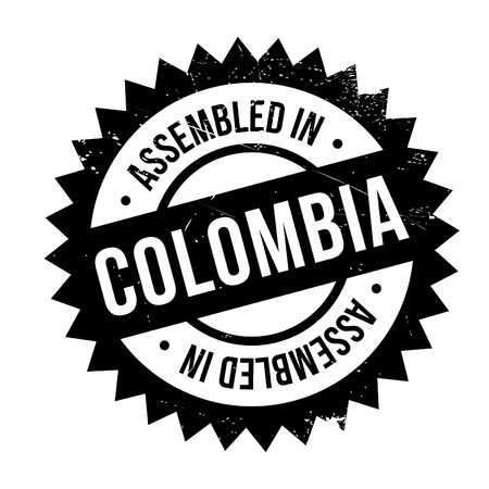 exported: Assembled in Colombia rubber stamp. Grunge design with dust scratches. Effects can be easily removed for a clean, crisp look. Color is easily changed. Illustration