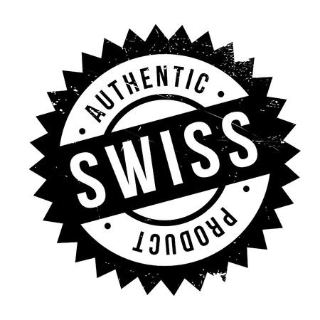 Authentieke Zwitserse productstempel. Grungeontwerp met stofkrassen. Effecten kunnen eenvoudig worden verwijderd voor een schone, heldere look. Kleur is gemakkelijk te veranderen. Vector Illustratie