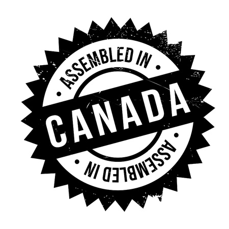 Assembled in Canada rubber stamp. Grunge design with dust scratches. Effects can be easily removed for a clean, crisp look. Color is easily changed.