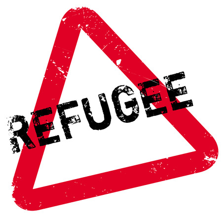 Refugee rubber stamp. Grunge design with dust scratches. Effects can be easily removed for a clean, crisp look. Color is easily changed. Illustration
