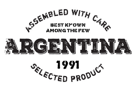 Assembled in Argentina rubber stamp. Grunge design with dust scratches. Effects can be easily removed for a clean, crisp look. Color is easily changed.