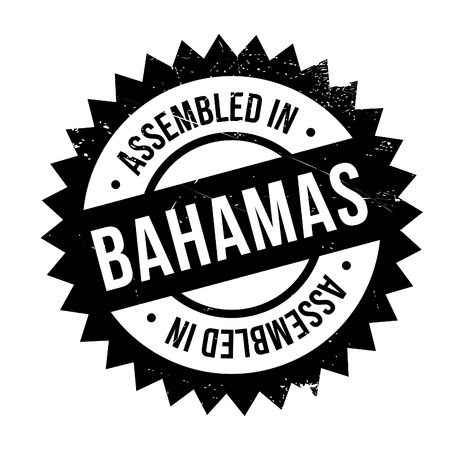 Assembled in Bahamas rubber stamp. Grunge design with dust scratches. Effects can be easily removed for a clean, crisp look. Color is easily changed.
