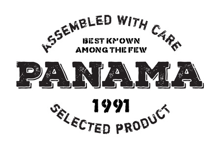 Assembled in Panama rubber stamp. Grunge design with dust scratches. Effects can be easily removed for a clean, crisp look. Color is easily changed. Illustration