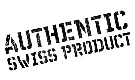 Sello de producto auténtico suizo. Diseño de grunge con arañazos de polvo. Los efectos se pueden quitar fácilmente para lograr un aspecto limpio y nítido. El color se cambia fácilmente. Ilustración de vector