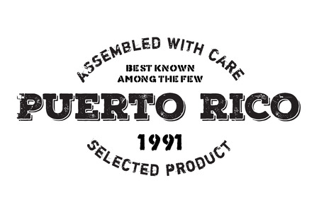 Assembled in Puerto Rico rubber stamp. Grunge design with dust scratches. Effects can be easily removed for a clean, crisp look. Color is easily changed. Illustration