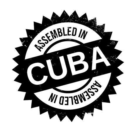 Assembled in Cuba rubber stamp. Grunge design with dust scratches. Effects can be easily removed for a clean, crisp look. Color is easily changed.