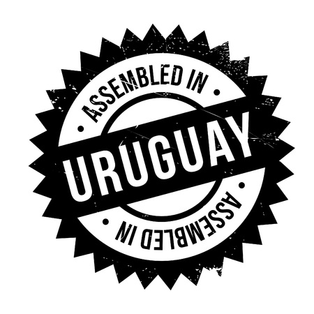 Assembled in Uruguay rubber stamp. Grunge design with dust scratches. Effects can be easily removed for a clean, crisp look. Color is easily changed. Illustration