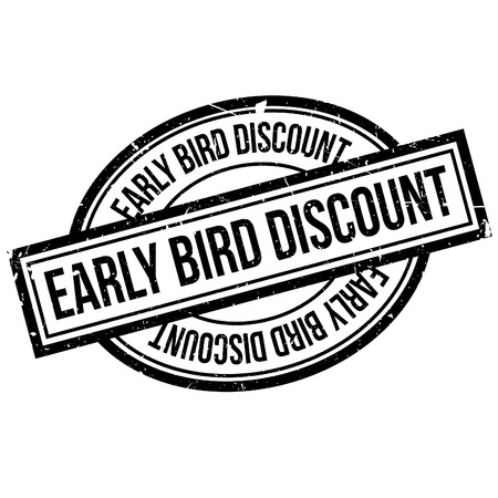 Early Bird Discount rubber stamp. Grunge design with dust scratches. Effects can be easily removed for a clean, crisp look. Color is easily changed. Фото со стока - 66879644