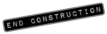 erection: End Construction rubber stamp. Grunge design with dust scratches. Effects can be easily removed for a clean, crisp look. Color is easily changed.