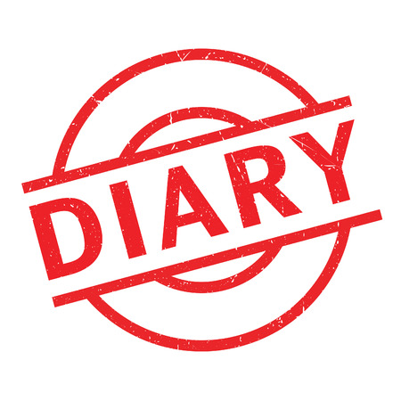 Diary rubber stamp. Grunge design with dust scratches. Effects can be easily removed for a clean, crisp look. Color is easily changed.