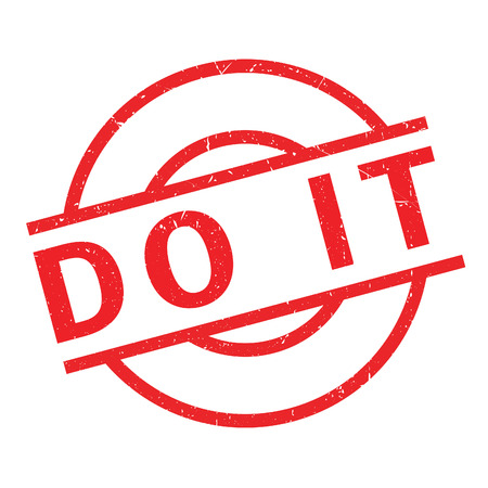 Do It rubber stamp. Grunge design with dust scratches. Effects can be easily removed for a clean, crisp look. Color is easily changed. Illustration