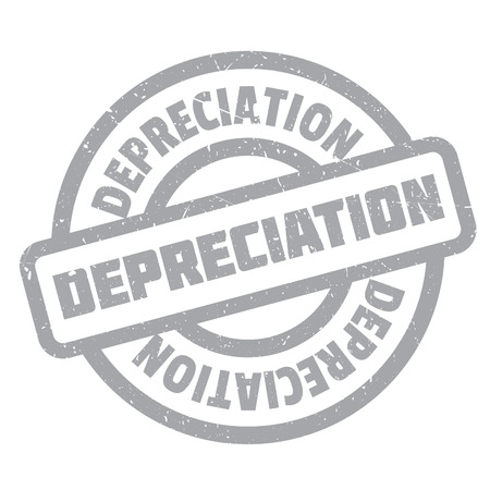 Depreciation rubber stamp. Grunge design with dust scratches. Effects can be easily removed for a clean, crisp look. Color is easily changed.