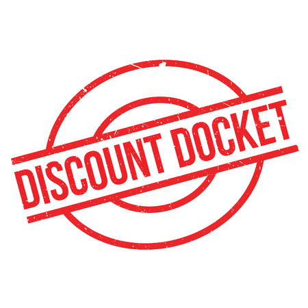 docket: Discount Docket rubber stamp. Grunge design with dust scratches. Effects can be easily removed for a clean, crisp look. Color is easily changed.