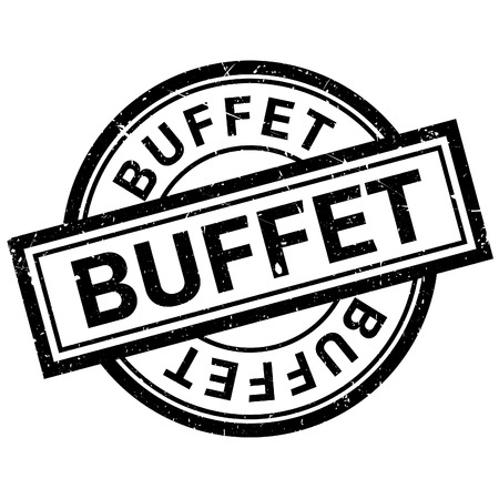 buffet: Buffet rubber stamp. Grunge design with dust scratches. Effects can be easily removed for a clean, crisp look. Color is easily changed.
