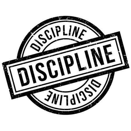 discipline: Discipline rubber stamp. Grunge design with dust scratches. Effects can be easily removed for a clean, crisp look. Color is easily changed.