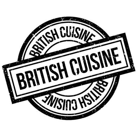 britannia: British Cuisine rubber stamp. Grunge design with dust scratches. Effects can be easily removed for a clean, crisp look. Color is easily changed.