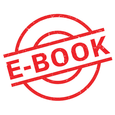 E-Book rubber stamp. Grunge design with dust scratches. Effects can be easily removed for a clean, crisp look. Color is easily changed.