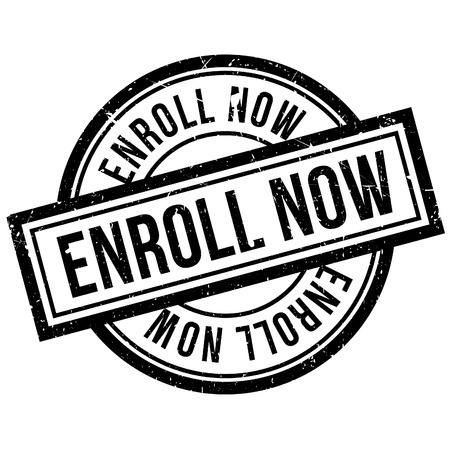 uni: Enroll Now rubber stamp. Grunge design with dust scratches. Effects can be easily removed for a clean, crisp look. Color is easily changed.