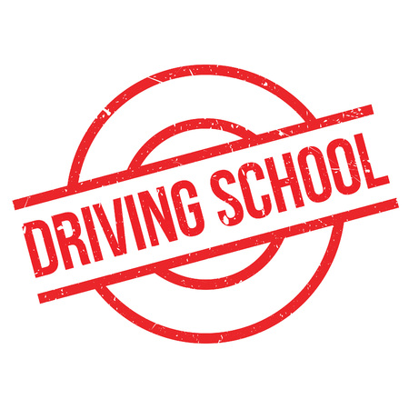 Driving School rubber stamp. Grunge design with dust scratches. Effects can be easily removed for a clean, crisp look. Color is easily changed. Illustration