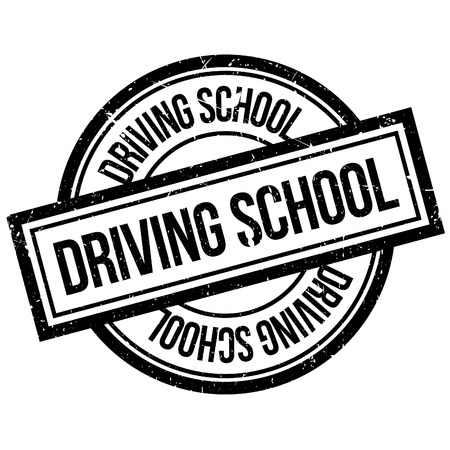 motoring: Driving School rubber stamp. Grunge design with dust scratches. Effects can be easily removed for a clean, crisp look. Color is easily changed. Illustration
