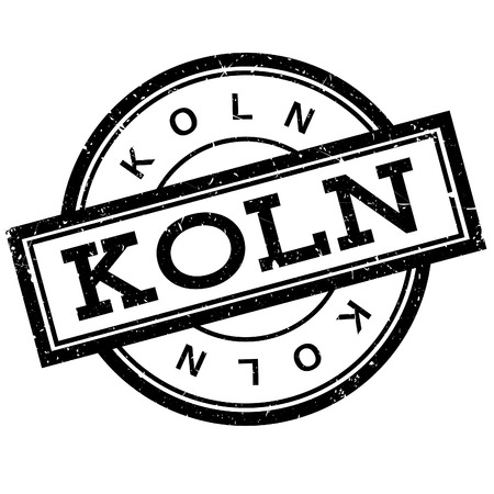 Koln rubber stamp. Grunge design with dust scratches. Effects can be easily removed for a clean, crisp look. Color is easily changed. Illustration