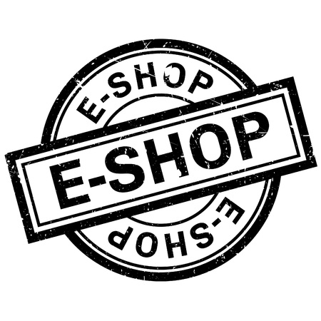 eshop: E-Shop rubber stamp. Grunge design with dust scratches. Effects can be easily removed for a clean, crisp look. Color is easily changed.