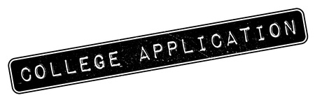 uni: College Application rubber stamp. Grunge design with dust scratches. Effects can be easily removed for a clean, crisp look. Color is easily changed.