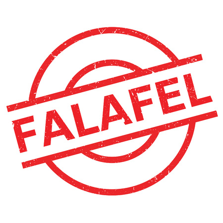 Falafel rubber stamp. Grunge design with dust scratches. Effects can be easily removed for a clean, crisp look. Color is easily changed. Ilustração