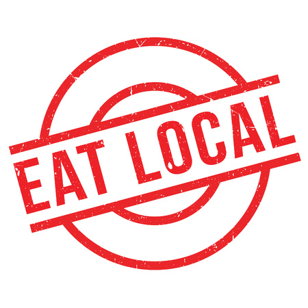 Eat Local rubber stamp. Grunge design with dust scratches. Effects can be easily removed for a clean, crisp look. Color is easily changed.