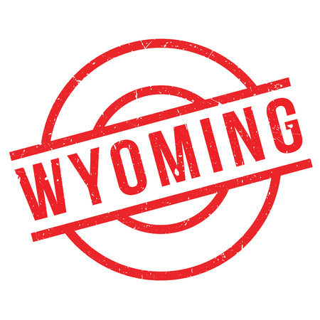 imprinted: Wyoming rubber stamp. Grunge design with dust scratches. Effects can be easily removed for a clean, crisp look. Color is easily changed.