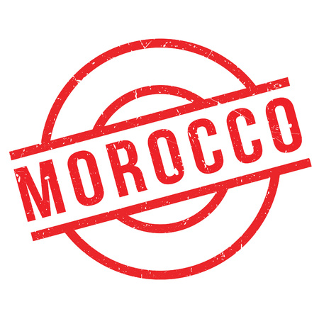Morocco rubber stamp. Grunge design with dust scratches. Effects can be easily removed for a clean, crisp look. Color is easily changed.