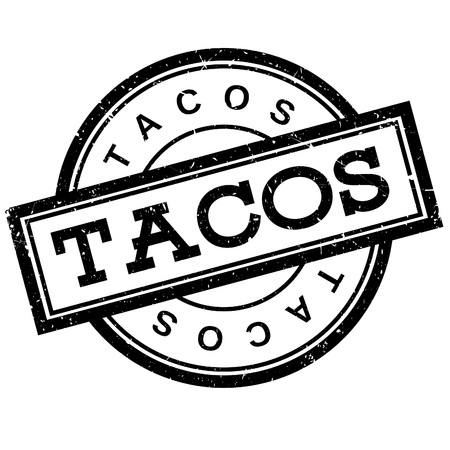 Tacos rubber stamp. Grunge design with dust scratches. Effects can be easily removed for a clean, crisp look. Color is easily changed.